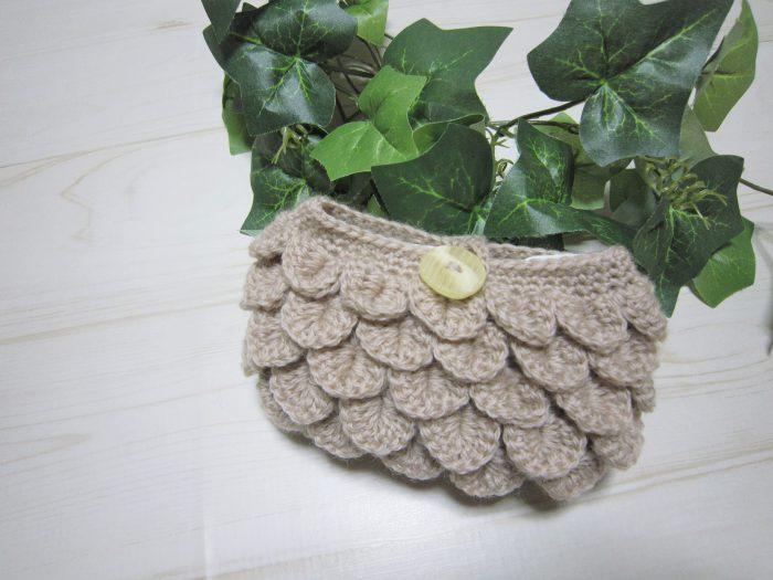 うろこ編みポーチ