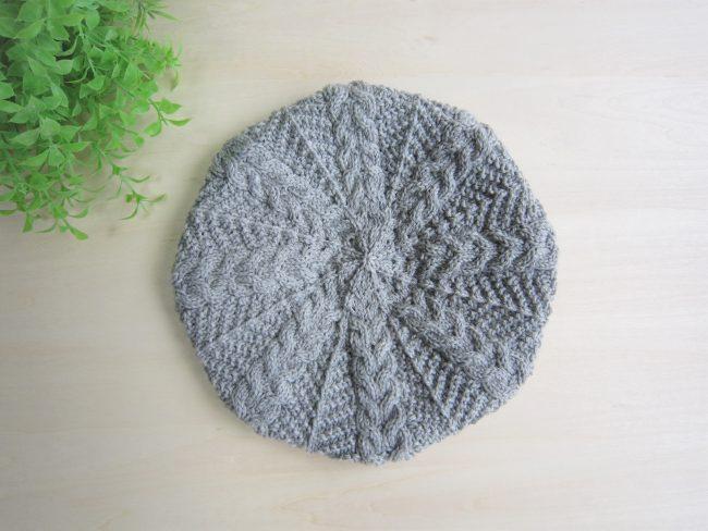 なわ編みベレー帽