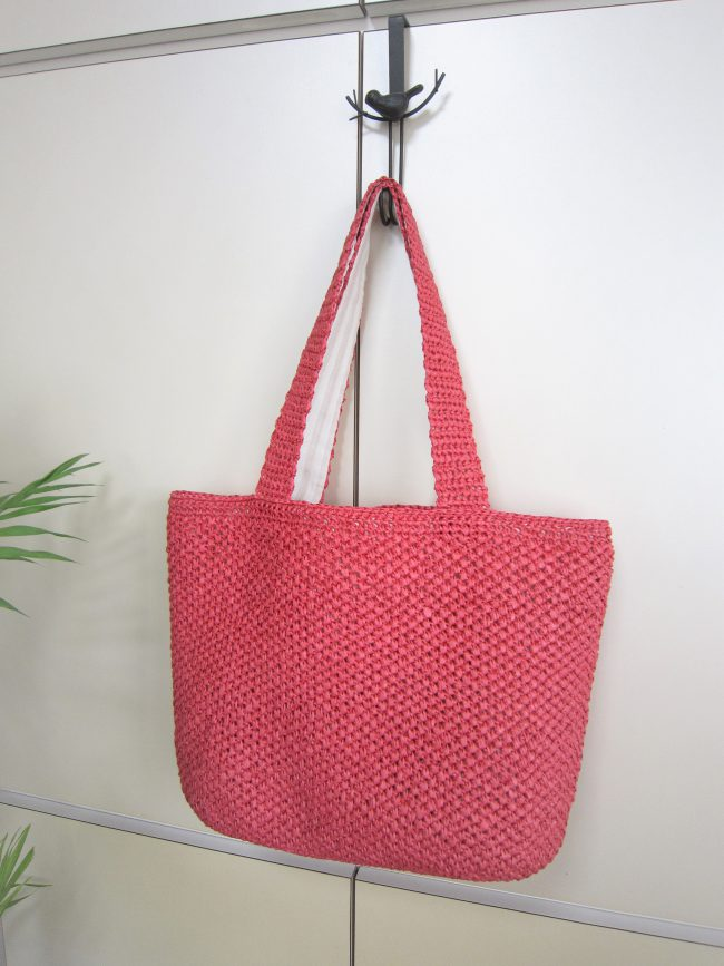 和紙糸バッグ赤