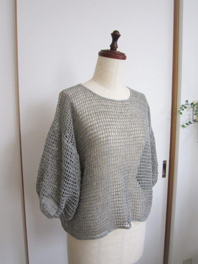 リネン方眼編みふわり袖プルオーバー