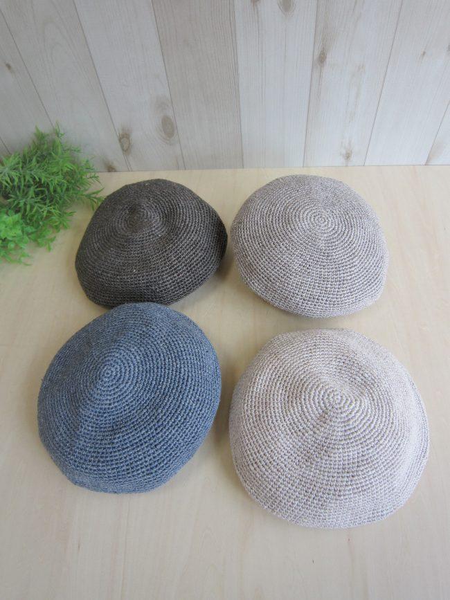 リネンこま編みベレー帽